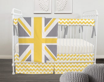 SALE Union Jack 4pc Crib set -  Bumper/Rail Teething Guard, Quilt, Fitted Sheet and Skirt - 3 colors