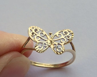 Golden Butterfly Ring, 2 tone 10K gold filigree, size 7.5, free US first class shipping on vintage
