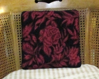 "Vintage Needlepoint Pillow Roses Floral 12"" Print Tapestry Black Rose Pink Wine Velvet Needle Point"