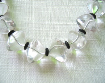 CLEAR GLASS Czechoslovakian Beads with black dividers Necklace