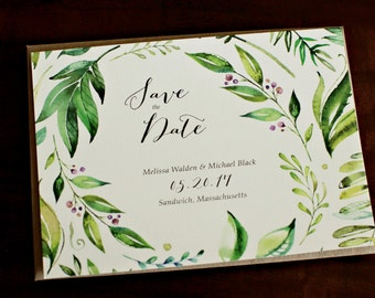 Watercolor Leaf Wedding Save The Date