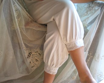 """Antique Cotton Pantaloons/Bloomers Flannel Lined for Winter 29.5"""" Waist/ Bobbin Lace Trimmed Cuffs"""