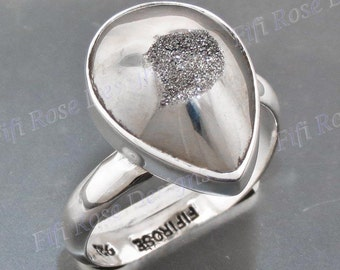 Us-made Moon Silver Titanium Druzy Drusy Adjustable Sz 9 925 Sterling Silver Ring