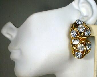 GLAM Rhinestone Clip Earrings, Hollywood Royal Style,  Big Glass Flashy Stones on Gold,  Showy Classics,1960s