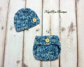 Newborn Baby Boy Crochet Hat and Diaper Cover Set Blue and Green Plush