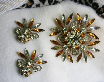 Vintage 1950s Judy Lee Yellow Amber Gold Tone Starburst Brooch + Clip-On Earring Set Signed Rare