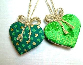 Green Heart Ornament   Home Decor   Birthday Party Favor   St Patrick's Day   Irish Decor   Tree Ornament   Primitive Folk Art   Set/2  #3