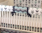 Navy Gray and Mint Arrows Crib Bedding Set Made to Order