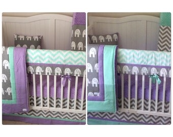 Lavender Mint and Gray Baby Girl Crib Bedding Bumperless Set Elephants
