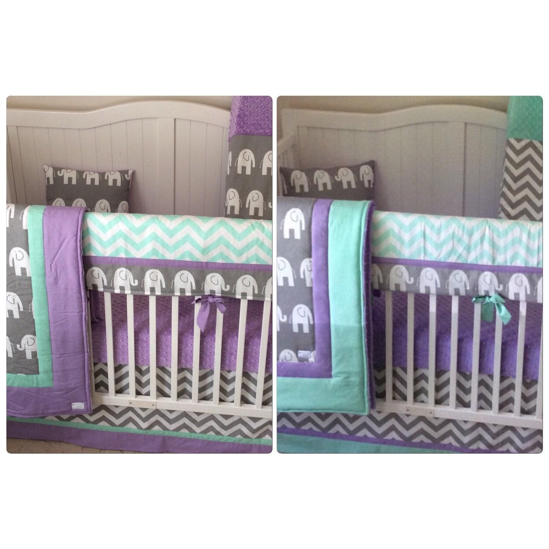 Lavender Mint And Gray Baby Girl Crib Bedding Bumperless Set