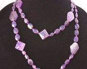"Destash FACETED Genuine AMETHYST NECKLACE 45"" long New w/o tags"