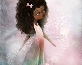 """SUMMER SALES EVENT Fantasy Fine Art Print African American Girl In Pinks and Greens """"Surrender Ii"""" 8.5x11 or 8x10 Premium Giclee Print - Pin"""