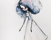 "Fine Art Print - ""Lina"" - Little watercolor Girl - 11x17 or 13x19 Giclee Art Print by Jessica von Braun - Pink and Grey Gray and Blue"
