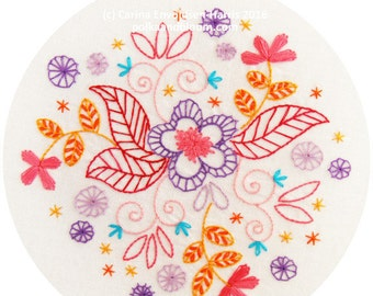 Dancing Blooms Embroidery Pattern PDF