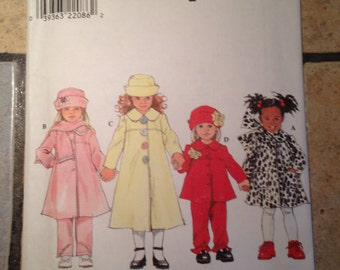 Simplicity 8352 Size 2, 3, 4 Girls' Coat, Pants, Jacket, Hat, and Scarf Pattern UNCUT