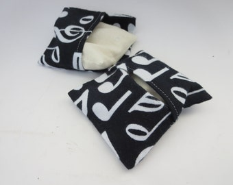 Pocket Hand Warmer Set - Black and White Musical Notes Slip Cover Pocket Warmer with Cotton bag filled with rice or flax seed
