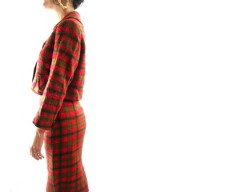 50s skirt suit / christmas party / mad men / s / red green / wool
