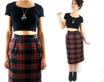 80s plaid midi / tartan / high waist / small / pockets / wool