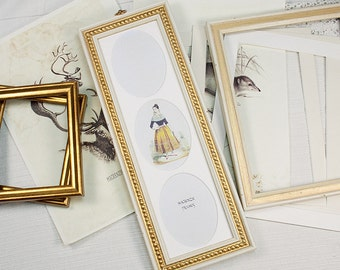 Wallet Size Ovals 3 Photos in Shabby Chic White and GoldBoule Frame