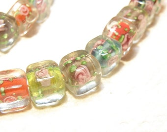 DESTASH -- Eight (8) Assorted Colors Cube Beads with Pink Rosebud Design