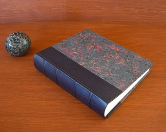 Leather spine photo album - navy with French marbled paper  8x10 in. 20.5x24.5 cm.-Ready to ship