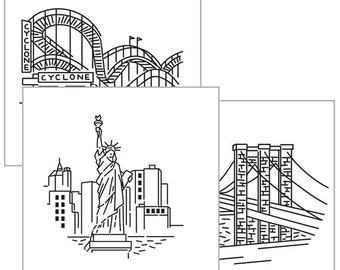 NYC IRON-ON embroidery transfer, New York City embroidery, embroidery pattern, Statue of Liberty, Brooklyn Bridge embroidery by Studiomme