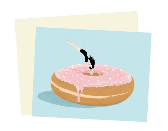 Doughnut Diver - Blank Card - 1 pc