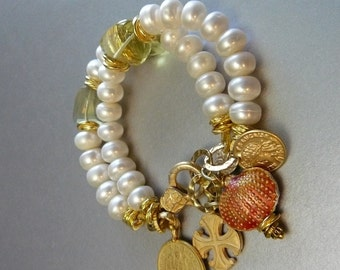 Reserved - On A Sunny Day Charm Bracelet 10mm - White Freshwater Pearls - Golden Faceted Citrine Shell Coin Cross Classic Sophisticated