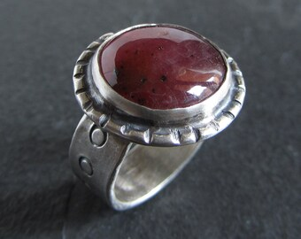 Sterling silver ruby ring // size 7.5 / unique ring / gemstone ring / boho ring / oxidized silver ring / rustic ring / stone ring / handmade