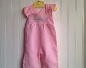 light pink flower overalls with flutter sleeves