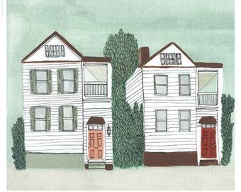 Charleston Neighbors Art Print