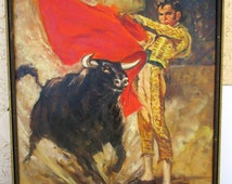 Vintage Matador Bullfighter Oil Painting Bull Fighting Spanish Mexican Southwestern Wall Art Hanging Signed SILVER