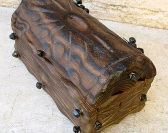 Vintage Wooden Gothic Jewelry Trinket Box Treasure Pirate Chest Casket Rustic Carved Wood