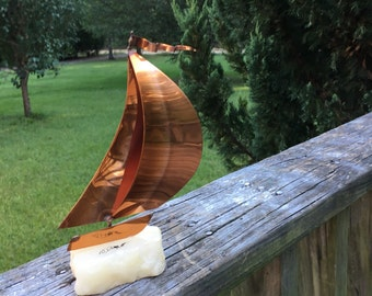 Mid Century Metal Sailboat Sculpture--Signed DeMott--Brutalist Style Copper Brass Sails Quartz Base--MCM--