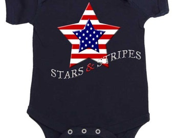 4th of July Romper Patriotic romper by Mumsy Goose Stars and Stripes Red white and Blue July 4th