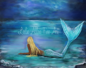 "Mermaid Art Print Mermaid Painting Print Blonde Mermaid Mermaids Stars Moon Decor Wall Art ""MERMAID STARS & MOON""  Leslie Allen Fine Art"