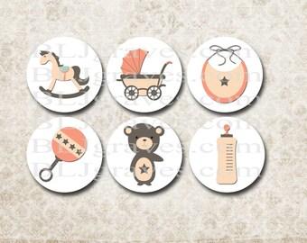 Baby Shower Stickers Boy Girl Bear Rocking Horse Envelope Seals Party Favor Treat Bag Sticker SB013