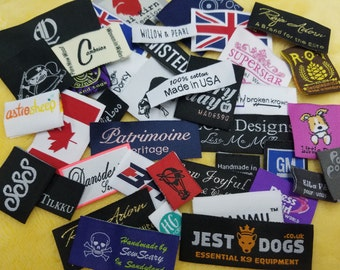 600pcs Custom Woven Labels, Hem Tags for Hoodies, Socks, T-Shirts, Tops, Bottoms, Capris, Pants, Jeans, Skirts, Vests