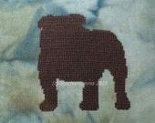 15010 Bulldog Silhouette - Original Design Cross Stitch PDF Pattern - DIGITAL DOWNLOAD