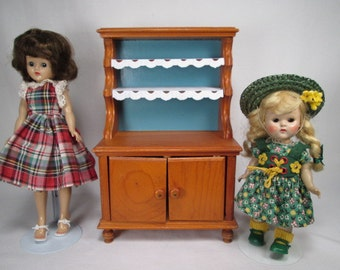 Vintage Doll Furniture - Keystone Maple Hutch For Small Dolls, Bears or Display