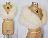 White Fur Stole Cape / FOX Capelet / bridal or party