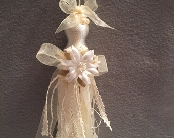White Poinsettia tassel ornament