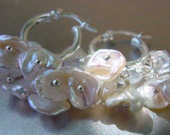 RESERVED..Delicate Siver White Flower Petals Keshi Freshwater Pearls center drilled Beads 70 beads set