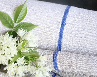 R 113 antique hemp linen roll faded 6.011yards BRIGHT BLUE grainsack fabric wedding decor lin