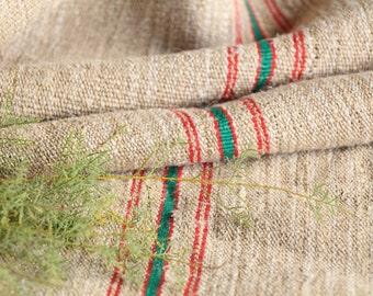 R 415 antique hemp linen roll 2.62 yards BRIGHT RED and GREEN 리넨 bath mat fabric wedding decor linbedding 19.69wide