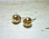 Glass Ball Stud Earrings - Gold