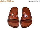20% OFF Brown Tumble Leather Sandals for Men & Women