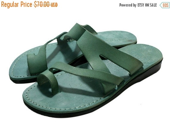 15% OFF Green Zing Leather Sandals for Men & Women - Handmade Sandals, Leather Flip Flops, Jesus Sandals, Leather Flats, Green Leather Sanda