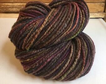 Handspun, Hand-dyed Romeldale x Rambouillet Wool Yarn, 188 yds.