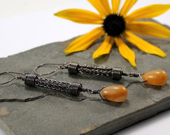 Viking knit Droplet earrings - Copper with Honey Jade
